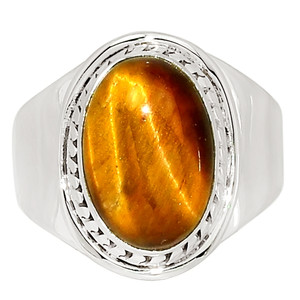 Tiger Eye - South Africa 925 Sterling Silver Ring Jewelry s.9.5 33623R