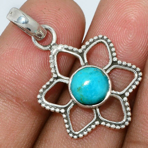 Blue Mohave Turquoise - Arizona 925 Sterling Silver Pendant Jewelry AP117082 44X