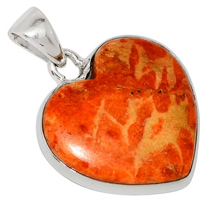 Heart - Coral 925 Sterling Silver Pendant Jewelry 33706P