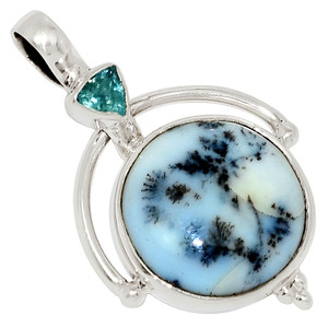 Merlinite Dendritic Opal - Turkey & Blue Topaz 925 Silver Pendant Jewelry 33699P