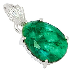 Emerald 925 Sterling Silver Pendant Jewelry 33710P
