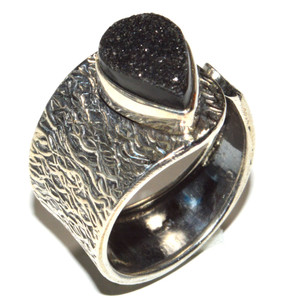 Agate Druzy 925 Sterling Silver Ring Jewelry s.9.5 JB15606