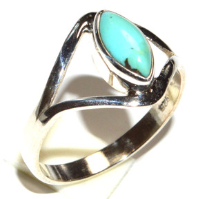 Blue Mohave Turquoise, Arizona 925 Sterling Silver Ring Jewelry s.8.5 JB15470