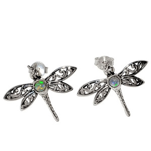 Dragon - Ethiopian Opal 925 Sterling Silver Earrings - Stud Jewelry 33741E
