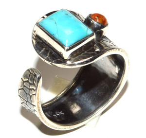 Blue Mohave Turquoise - Arizona 925 Sterling Silver Ring Jewelry s.7 JB15478