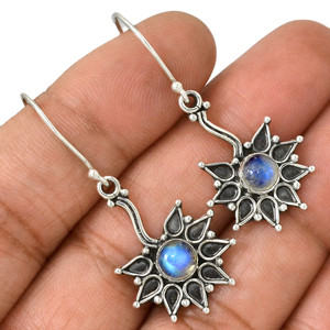 Moonstone - India 925 Sterling Silver Earrings Jewelry AE81612 42V