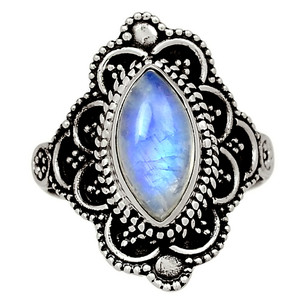 Bali Design - Moonstone - India 925 Sterling Silver Ring Jewelry s.6.5 33583R