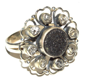 Black Agate Druzy, Herkimer Diamond 925 Sterling Silver Ring Jewelry s.7 JB15659