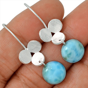 Genuine Larimar - Dominican Republic 925 Silver Earrings Jewelry AE79394 176C