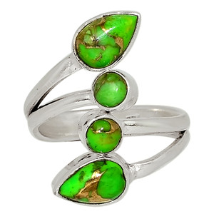 Copper Green Turquoise 925 Sterling Silver Ring Jewelry s.5.5 33508R