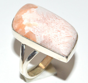 Orange Scolecite - India 925 Sterling Silver Ring Jewelry s.5 JB15534