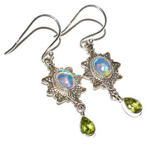 Ethiopian Opal 925 Sterling Silver Earrings Jewelry JB14979