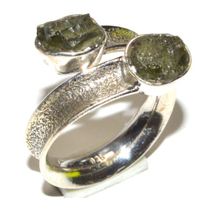 Genuine Moldavite 925 Sterling Silver Ring Jewelry s.7  JB15815