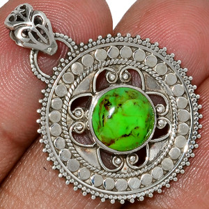 Bali Design - Mohave Green Turquoise 925 Silver Pendant Jewelry AP114518 93W