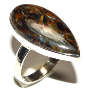 Pietersite - Namibia 925 Sterling Silver Ring Jewelry s.9 JB15568