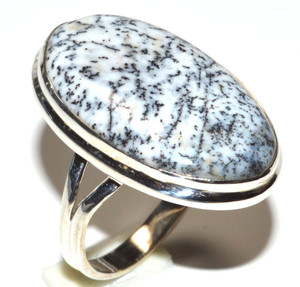 Merlinite Dendritic Opal - Turkey 925 Sterling Silver Ring Jewelry s.4.5 JB15587