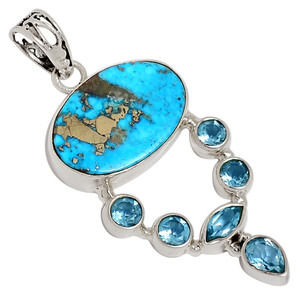 Persian Turquoise & Blue Topaz 925 Sterling Silver Pendant Jewelry 33425P
