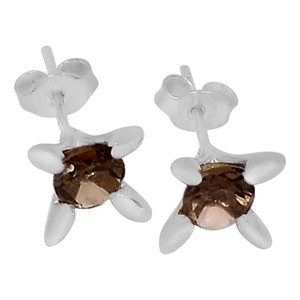 Smokey Quartz 925 Sterling Silver Earrings Jewelry E2104S