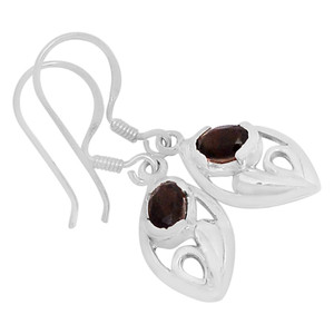 Smokey Quartz 925 Sterling Silver Earrings Jewelry E2140S