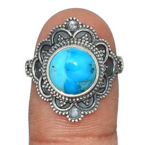 Blue Mohave Turquoise - Arizona 925 Sterling Silver Ring Jewelry s.8 AR88985 80U