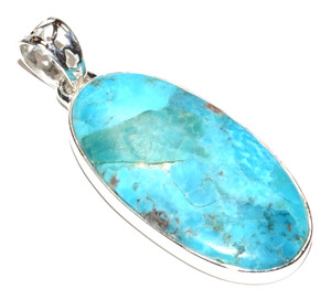Blue Mohave Turquoise - Arizona 925 Sterling Silver Pendant Jewelry JB15267