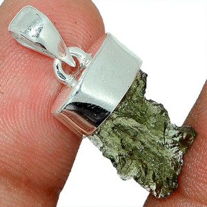 Genuine Czech Moldavite 925 Sterling Silver Pendant Jewelry AP116617