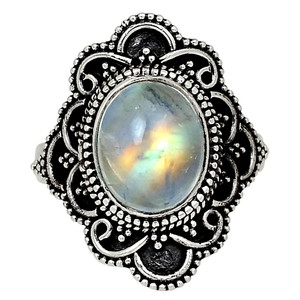 Bali Design - Moonstone - India 925 Sterling Silver Ring Jewelry s.7 33582R