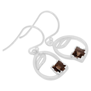 Smokey Quartz 925 Sterling Silver Earrings Jewelry E2137S