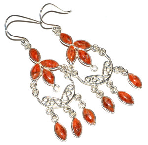 Natural Coral 925 Sterling Silver Earrings Jewelry JB15073