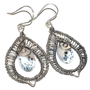 Dendritic Opal 925 Sterling Silver Earrings Jewelry JB15043