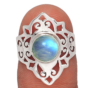 Artisan - Moonstone - India 925 Sterling Silver Ring Jewelry s.7 AR86207 50U