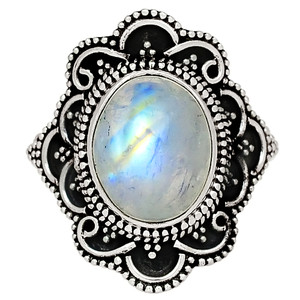 Bali Design - Moonstone - India 925 Sterling Silver Ring Jewelry s.8 33605R