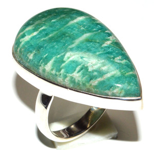 Russian Amazonite 925 Sterling Silver Ring Jewelry s.8.5 JB15544