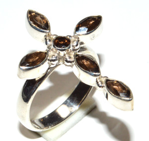 Natural Smoky Topaz 925 Sterling Silver Ring Jewelry s.6  JB15895