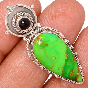Green Mohave Turquoise & Black Onyx 925 Silver Pendant Jewelry AP95185 122C