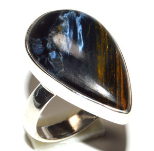 Pietersite - Namibia 925 Sterling Silver Ring Jewelry s.6 JB15552