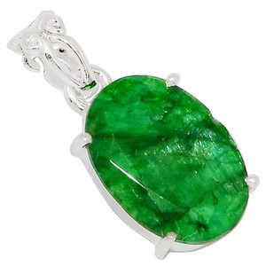 Emerald 925 Sterling Silver Pendant Jewelry 33712P