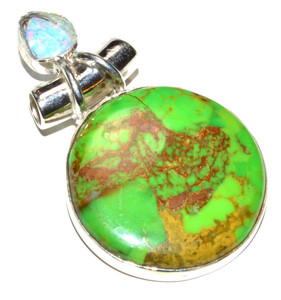 Green Mohave Turquoise, Fire Opal 925 Sterling Silver Pendant Jewelry JB15254