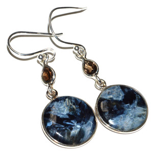 Pietersite - Namibia, Smoky Topaz 925 Sterling Silver Earrings Jewelry JB15008