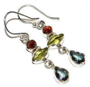 Rainbow Topaz, Peridot, Garnet 925 Sterling Silver Earrings Jewelry JB16175