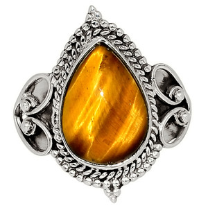 Tiger Eye - South Africa 925 Sterling Silver Ring Jewelry s.8 33505R