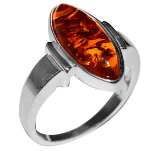 4.55g Authentic Baltic Amber 925 Sterling Silver Ring Jewelry s.9 A7137S9