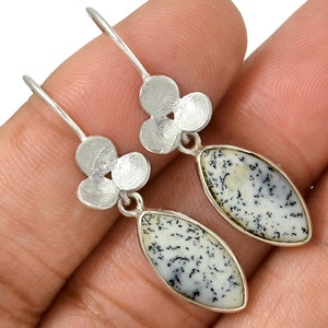 Merlinite - Dendritic Opal - Turkey 925 Silver Earrings Jewelry AE80796 5F