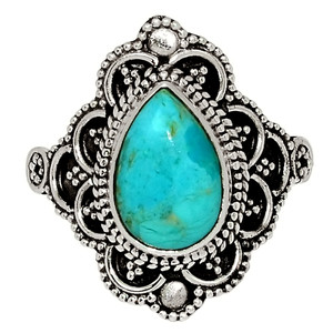 Bali Design - Blue Mohave Turquoise, Arizona 925 Silver Ring Jewelry s.9 33565R