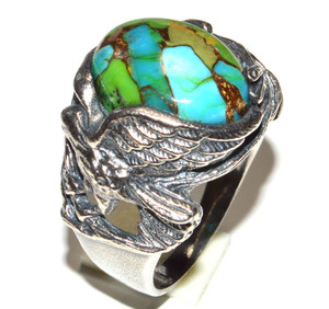 Blue Turquoise In Green Mohave 925 Sterling Silver Ring Jewelry s.8 JB15467