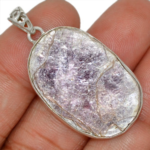 Flashy Lepidolite Mica 925 Sterling Silver Pendant Jewelry AP95113