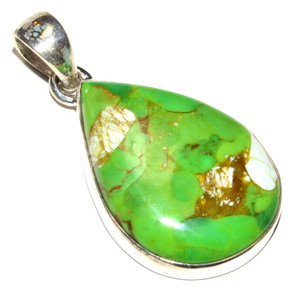 Green Mohave Turquoise 925 Sterling Silver Pendant Jewelry JB15255