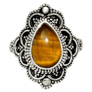 Bali Design - Tiger Eye - South Africa 925 Silver Ring Jewelry s.7 33544R