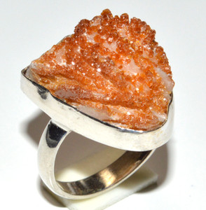Aragonite Crystal Star 925 Sterling Silver Ring Jewelry s.6  JB15965