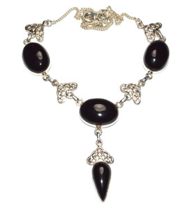 24.8g Natural Black Onyx 925 Sterling Silver Necklace Jewelry JB16224